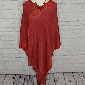 Red Two-Tone Fringe Poncho